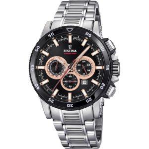 Orologio Cronografo Uomo Festina,cassa acciaio 43 millimetri,il quadrante nero con indici e lancette rose e bianche ,10 atm.