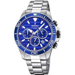 Orologio Cronografo Uomo Festina,cassa acciaio 44,3 millimetri,il quadrante blu con indici e lancette acciaio e bianche ,10 atm.