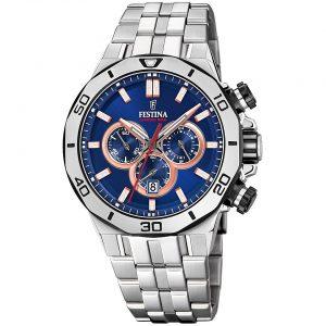 Orologio Cronografo Uomo Festina,cassa acciaio 44 millimetri,il quadrante blu con indici e lancette rose ,10 atm.