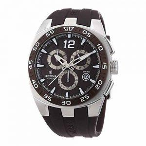 Orologio chrono Uomo Festina,cassa acciaio forma rotonda,il quadrante è nero con indici e lancette acciaio ,10 atm, cinturino in gomma nero.