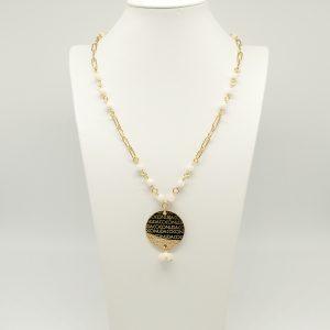 Collana Donna dorato 58cm regolabile- pietre piccole bianche - Medaglia oro Pendente di forma tonda con incisione Coconuda coch1993