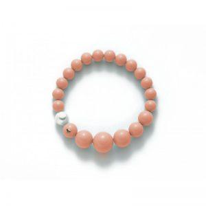 bracciale-miluna-agglomerato corallo rosa - cuoricino in oro - 1 perla bianco mm.9.5-10 - color rosa mm. 8-14 microfusione