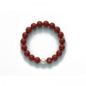 bracciale-miluna-agglomerato corallo rosso - cuoricino in oro 1 perla bianco mm.9.5-10 - color corallo rosso mm. 10 microfusione