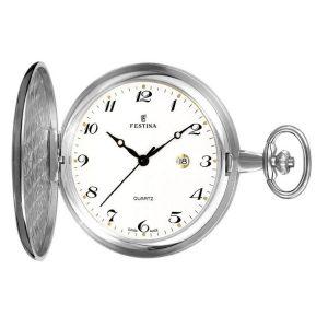 Orologio da tasca Uomo Festina,cassa acciaio 49 millimetri,il quadrante bianco con indici e lancette nere, meccanismo svizzero.