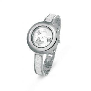 Orologio solo tempo Donna Ops Objects - Cassa acciaio - Cinturino Rigido con Microcristalli - Quadrante bianco con farfalle glitterate ed argento - 3 atm opspw-366-2700
