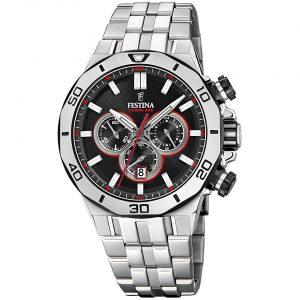 Orologio Cronografo Uomo Festina,cassa acciaio 44 millimetri,il quadrante nero con indici e lancette acciaio e rosso,10 atm.