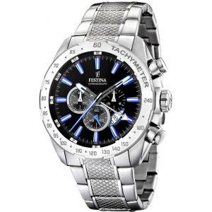 Orologio Cronografo Uomo Festina,cassa acciaio 44 millimetri,il quadrante nero con indici e lancette blu ,10 atm.
