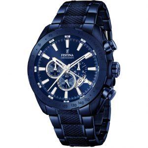 Orologio Cronografo Uomo Festina,cassa acciaio blu 44 millimetri,il quadrante blu con indici e lancette acciaio ,10 atm.