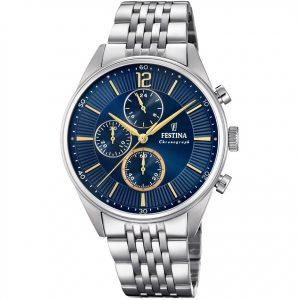 Orologio Cronografo Uomo Festina,cassa acciaio 41 millimetri,il quadrante blu con indici e lancette acciaio dorato,5 atm.f20285/3
