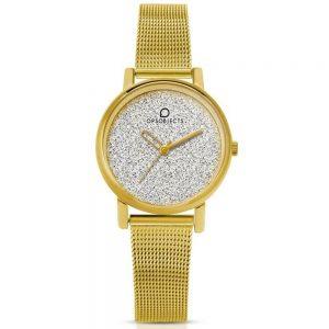 Orologio Donna Ops Objects linea Mini Glitter - Cassa acciaio oro - quadrante grigio glitterato - maglia milano acciaio oro - Orologio solo tempo, 3 Atm opsposh-120-3450