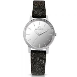 Orologio Donna Ops Objects linea Mini Glitter- Cassa acciaio - quadrante grigio - cinturino in vera pelle nero glitterato - Orologio solo tempo, 3 Atm opsposh-122-2950