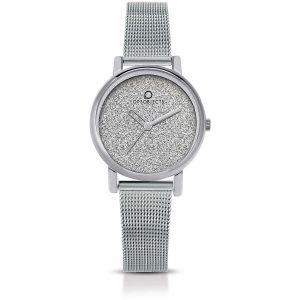 Orologio Donna Ops Objects linea Mini Glitter- Cassa acciaio - quadrante bianco glitterato - maglia milano acciaio - Orologio solo tempo, 3 Atm opsposh-116-2950