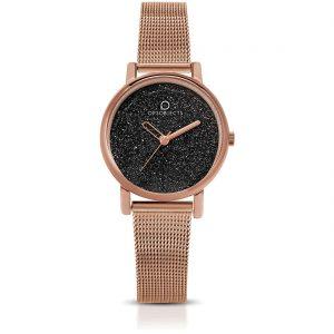 Orologio Donna Ops Objects linea Mini Glitter- Cassa acciaio rosè - quadrante grigio glitterato - maglia milano acciaio rosè - Orologio solo tempo, 3 Atm opsposh-119-3450