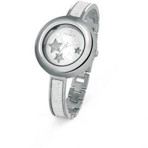 Orologio solo tempo Donna Ops Objects - Cassa acciaio - Cinturino Rigido con Microcristalli - Quadrante bianco con stelle glitterate ed argento - 3 atm opspw-364-2700