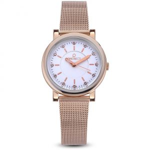 Orologio Donna Ops Objects linea Posh petite lux crystal - Cassa acciaio rosè - quadrante bianco - maglia milano acciaio rosè - Orologio solo tempo, 5 Atm opsposh-82-3450