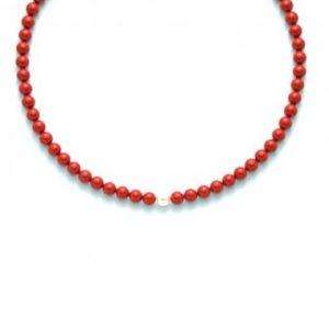 collana agglomerato corallo rosso mm8 - perla bianca mm. 8,5-9 argento 925/1000 -oro 750/1000- microfusione