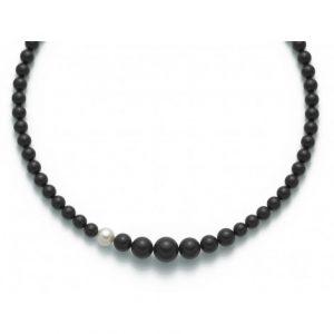collana agglomerato onice nero mm8-14 - perla bianca mm. 9,5-10 argento 925/1000 -oro 750/1000- microfusione