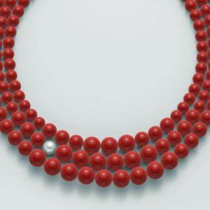 collana agglomerato corallo rosso mm.8-12 - perla bianca mm. 9,5-10 argento 925/1000 -oro 750/1000- microfusione