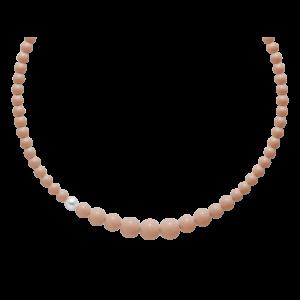 collana agglomerato corallo rosa mm8-14 - perla bianca mm. 9,5-10 argento 925/1000 -oro 750/1000- microfusione