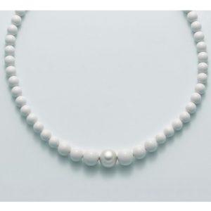 collana agglomerato corallo bianco mm8-12 - perla bianca mm. 11-15 argento 925/1000 -oro 750/1000- microfusione