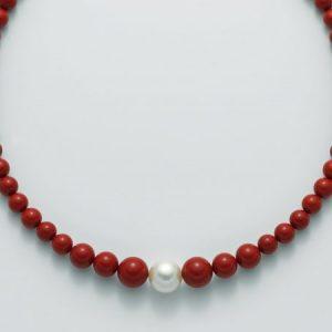 collana agglomerato corallo rosso mm8-12 - perla bianca mm. 11-15 argento 925/1000 -oro 750/1000- microfusione