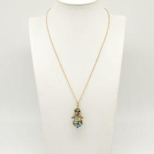 Collana 51cm regolabile in argento color oro angioletto in ceramica pendente dipinta a mano di blu e giallo - chiusura a moschettone.