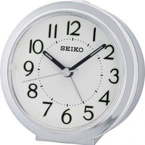 Orologio Sveglia analogico plastica argento nero movimento quarzo. Quadrante nero con lancette bianche. Dotata di funzione allarme e luce, compreso di pila.
