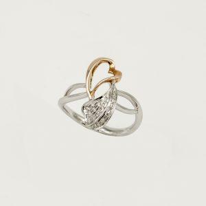 Anello per Donna a Marchio Donna Oro, referenza WF6938 Anello in oro 18kt 750/1000, Diamante KT 0,08 due cuori intrecciati, di cui uno in oro bianco e diamanti e uno in oro rosso aperto al centro