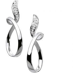 Orecchini per Donna a Marchio Comete, referenza ORB558 Orecchini in oro 18kt 750/1000, taglio brillante rotondo. Diamanti KT 0,07, chiusura a farfallina. Pendenti con forma ovale, parte superiore impreziosita da diamanti bianchi.