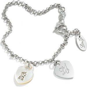 Bracciale Donna a Marchio Liu-Jo, con la referenza BLJ015 Bracciale in Argento Sterling 925, lunghezza 18cm, Maglia rolo' con due cuori pendenti, Un cuore con iniziali LJ incise, l'altro cuore in madreperla con strass.