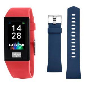 Orologio Calypso Uomo-Donna con codice K8500/4 Collezione SmarTime La cassa è di colore Nero,con due cinturini intercambiabili disponibili, Entrambi in Gomma, uno di Colore Rosso, l'altro di colore Blu. Nelle opzioni di utilizzo vi sono vari tipi di display da poter scegliere. Le funzioni disponibili sono svariate: Frequenza Cardiaca, La Variabilità della frequenza cardiaca (HRV), Il Misuratore di pressione, Sveglie, Cronometro, C'è il controllo Remoto Musica, Funzione Trova il Mio Telefono, Il Controllo Sedentarietà, Calendario, Notifiche per le telefonate in arrivo, Le Notifiche dei Messaggi, Varie modalità Sport: corsa, ciclismo, trekking, calcio, basket. Il Contapassi, Il Controllo Remoto Fotocamera. Monitoraggio del Sonno, App dedicata. E' Compatibile con iOS (versione 9 e superiori), e Android (versione 4.4 e superiori) C'è la Ricarica USB senza necessità di spinotto, Il Tempo di Ricarica circa 60 Minuti, Autonomia in standby 20 giorni, Connessione Normale 5-7 Giorni La Risoluzione dello schermo touchscreen: 135 x 240 pixels L'orologio viene fornito con Scatola e garanzia ufficiale per 2 Anni Calypso