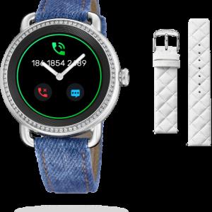 """Orologio Festina donna Smartwatch Ibrido F50000/1 SmarTime La cassa è in acciaio inossidabile con zirconi da 41,2mm di diametro, spessa 12,8mm, con un impermeabilità di 3 Atm = 30 mt, nella cassa è presente 1 Pulsante Il diametro dello schermo è 30,4 mm. Questo è un orologio femminile intelligente con schermo tattile e tecnologia analogica. All'interno del quadrante, che monte un vetro Zaffiro inscalfibile, vi sono due vere lancette che funzionano come un orologio classico, si può impostare l'ora sia manualmente, sia attraverso l'App Festina smarTime. Caratteristica molto interessante è la personalizzazione del quadrante, infatti tramite l'app è possibile selezionare una delle """"watch faces""""predefinite, oppure sceglierne una dalla propria galleria delle immagini, ed è anche possibile aggiungere o modificare le icone di scelta rapida presenti. Tra le funzioni a disposizione: Il monitoraggio dell'attività sportiva, il conteggio dei passi, Monitoraggio del sonno, la frequenza cardiaca, monitoraggio della sedentarietà, Notifiche chiamata, messaggi (sms-whatsapp-etc), E-mail, Social network, Allarmi, Cronometro, Timer, Previsioni del Tempo, Controllo della Musica, funzione trova il mio telefono. Due cinturini facilmente intercambiabili: uno di colore Denim/Pelle e l'altro in Omaggio Bianco/Pelle uno in gomma nera, e l'altro in pelle-gomma nero con cuciture bianche. Compatibile con iOS (versione 9 e superiori),Android (versione 5 e superiori) Schermo display: Amoled 360 x 360 pixels Comunicazione a distanza entro 10 metri Il sensore della frequenza cardiaca è PixArt Il sensore di accelerazione è 6 Axis Accelerometro, edIl bluetooth è il BLE 4.2. Metodo di Ricarica: Carica magnetica attraverso la base del dispositivo entro 120 minuti La carica della batteria(al litio) può durare fino a due settimane, in standby 3 giorni per la funzione smart, e 100 giorni per la funzione analogica(lancette) Lingue selezionabili sia nell'orologio che nell'App: Italiano, Spagnolo, Inglese, Te"""