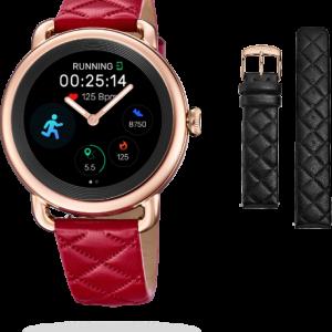 """Orologio Festina donna Smartwatch Ibrido F50001/3 SmarTime La cassa è in acciaio inossidabile da 41,2mm di diametro di colore Rosè, spessa 12,8mm, con un impermeabilità di 3 Atm = 30 mt, nella cassa è presente 1 Pulsante Il diametro dello schermo è 30,4 mm. Questo è un orologio femminile intelligente con schermo tattile e tecnologia analogica. All'interno del quadrante, che monte un vetro Zaffiro inscalfibile, vi sono due vere lancette che funzionano come un orologio classico, si può impostare l'ora sia manualmente, sia attraverso l'App Festina smarTime. Caratteristica molto interessante è la personalizzazione del quadrante, infatti tramite l'app è possibile selezionare una delle """"watch faces""""predefinite, oppure sceglierne una dalla propria galleria delle immagini, ed è anche possibile aggiungere o modificare le icone di scelta rapida presenti. Tra le funzioni a disposizione: Il monitoraggio dell'attività sportiva, il conteggio dei passi, Monitoraggio del sonno, la frequenza cardiaca, monitoraggio della sedentarietà, Notifiche chiamata, messaggi (sms-whatsapp-etc), E-mail, Social network, Allarmi, Cronometro, Timer, Previsioni del Tempo, Controllo della Musica, funzione trova il mio telefono. Due cinturini facilmente intercambiabili: uno di colore Denim/Pelle e l'altro in Omaggio Bianco/Pelle uno in gomma nera, e l'altro in pelle-gomma nero con cuciture bianche. Compatibile con iOS (versione 9 e superiori),Android (versione 5 e superiori) Schermo display: Amoled 360 x 360 pixels Comunicazione a distanza entro 10 metri Il sensore della frequenza cardiaca è PixArt Il sensore di accelerazione è 6 Axis Accelerometro, edIl bluetooth è il BLE 4.2. Metodo di Ricarica: Carica magnetica attraverso la base del dispositivo entro 120 minuti La carica della batteria(al litio) può durare fino a due settimane, in standby 3 giorni per la funzione smart, e 100 giorni per la funzione analogica(lancette) Lingue selezionabili sia nell'orologio che nell'App: Italiano, Spagnolo, Inglese,"""