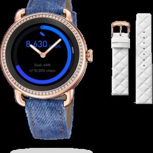 """Orologio Festina donna Smartwatch Ibrido F50002/1 SmarTime La cassa è in acciaio inossidabile con zirconi da 41,2mm di diametro di colore Rosè, spessa 12,8mm, con un impermeabilità di 3 Atm = 30 mt, nella cassa è presente 1 Pulsante Il diametro dello schermo è 30,4 mm. Questo è un orologio femminile intelligente con schermo tattile e tecnologia analogica. All'interno del quadrante, che monte un vetro Zaffiro inscalfibile, vi sono due vere lancette che funzionano come un orologio classico, si può impostare l'ora sia manualmente, sia attraverso l'App Festina smarTime. Caratteristica molto interessante è la personalizzazione del quadrante, infatti tramite l'app è possibile selezionare una delle """"watch faces""""predefinite, oppure sceglierne una dalla propria galleria delle immagini, ed è anche possibile aggiungere o modificare le icone di scelta rapida presenti. Tra le funzioni a disposizione: Il monitoraggio dell'attività sportiva, il conteggio dei passi, Monitoraggio del sonno, la frequenza cardiaca, monitoraggio della sedentarietà, Notifiche chiamata, messaggi (sms-whatsapp-etc), E-mail, Social network, Allarmi, Cronometro, Timer, Previsioni del Tempo, Controllo della Musica, funzione trova il mio telefono. Due cinturini facilmente intercambiabili: uno di colore Denim/Pelle e l'altro in Omaggio Bianco/Pelle uno in gomma nera, e l'altro in pelle-gomma nero con cuciture bianche. Compatibile con iOS (versione 9 e superiori),Android (versione 5 e superiori) Schermo display: Amoled 360 x 360 pixels Comunicazione a distanza entro 10 metri Il sensore della frequenza cardiaca è PixArt Il sensore di accelerazione è 6 Axis Accelerometro, edIl bluetooth è il BLE 4.2. Metodo di Ricarica: Carica magnetica attraverso la base del dispositivo entro 120 minuti La carica della batteria(al litio) può durare fino a due settimane, in standby 3 giorni per la funzione smart, e 100 giorni per la funzione analogica(lancette) Lingue selezionabili sia nell'orologio che nell'App: Italiano, Spagno"""
