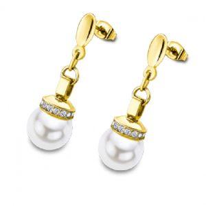 Orecchini Donna a Marchio Lotus Style, con la referenza LS2118/4/1 Orecchini Pendenti in acciaio color oro, con strass e perla, Lunghezza 3 cm - chiusura a vite. Il nome della collezione a cui appartiene è Bliss.