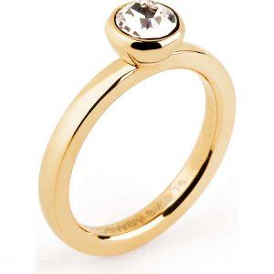 Anello Tring per Donna a Marchio Brosway con referenza BTGC25E Il nome della collezione a cui appartiene è Riflessione, Materiale acciaio dorato - Swarovski Crystal, Anello misura 20.
