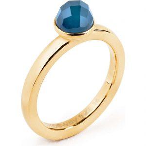 Anello Tring per Donna a Marchio Brosway con referenza BTGC26D Il nome della collezione a cui appartiene è Bellezza, Materiale acciaio dorato - Agata Sfaccettata Blu, Anello misura 18