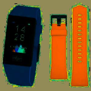 La cassa è di colore Nero,con due cinturini intercambiabili disponibili, Entrambi in Gomma, uno di Colore Blu, l'altro di colore Arancione. Nelle opzioni di utilizzo vi sono vari tipi di display da poter scegliere. Le funzioni disponibili sono svariate: Frequenza Cardiaca, La Variabilità della frequenza cardiaca (HRV), Il Misuratore di pressione, Sveglie, Cronometro, C'è il controllo Remoto Musica, Funzione Trova il Mio Telefono, Il Controllo Sedentarietà, Calendario, Notifiche per le telefonate in arrivo, Le Notifiche dei Messaggi, Varie modalità Sport: corsa, ciclismo, trekking, calcio, basket. Il Contapassi, Il Controllo Remoto Fotocamera. Monitoraggio del Sonno, App dedicata. E' Compatibile con iOS (versione 9 e superiori), e Android (versione 4.4 e superiori) C'è la Ricarica USB senza necessità di spinotto, Il Tempo di Ricarica circa 60 Minuti, Autonomia in standby 20 giorni, Connessione Normale 5-7 Giorni La Risoluzione dello schermo touchscreen: 135 x 240 pixels