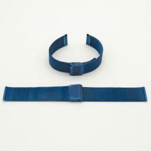 Cinturino Acciaio Maglia Milano colore Blu Ref 005MilB Il prodotto si presenta a maglia milano finemente rifinita non grossolana Sono disponibili misure 16-18-20-24 La Lunghezza è regolabile da 12,5 cm a 17,8 cm Sia la parte del bracciale che la chiusura sono in acciaio Inox Il Cinturino è Anallergico Il Bracciale è avvolto da una pellicola protettiva trasparente La chiusura invece da un pellicola protettiva blu ed è inserito all'interno di una Bustina di plastica trasparente