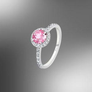 Anello da Donna a Marchio Lotus Silver, con la referenza LP2008-3/214 Il nome della collezione a cui appartiene è Charming Lady Swarovski, Anello in argento con zircone tondo di colore rosa, 14 Swarovski bianchi 1,50 mm, Misura anello 14.