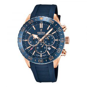 Orologio cronografo per uomo a Marchio Festina, con la referenza F20516/1 Orologio con cassa acciaio rosè di forma rotonda con diametro 44 mm, Cinturino in silicone blu - chiusura a fibbia, Il quadrante è blu- indici acciaio rosè - vetro zaffiro, Ghiera in ceramica blu - corona a vite - movimento al quarzo OS20, L'impermeabilità della cassa è di 10 atmosfere, Il nome della collezione a cui appartiene è Ceramic.
