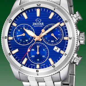 Orologio Cronografo per Uomo a Marchio Jaguar, con la referenza J687/B L'orologio presenta un grande valore aggiunto che è quello di essere SWISSMADE, Orologio con cassa in acciaio di forma rotonda con diametro 43,50 mm, Cinturino in acciaio - chiusura deployante, Il quadrante è azzurro - indici rosè, Il vetro è Zaffiro - Il meccanismo è svizzero, L'impermeabilità è 100 Mt verificata a fine ciclo di lavorazione per ciascun orologio. Il nome della collezione a cui appartiene è Executive.