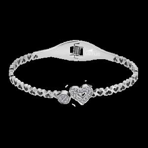 Bracciale da Donna a Marchio Lotus Style, con la referenza LS1789-2/3 Il nome della collezione a cui appartiene è Bliss, Bracciale rigido in acciaio, Cuore e tondino con strass di colore bianco,